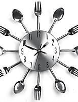 Modern Design Sliver Cutlery Kitchen Utensil Wall Clock Spoon Fork Clock