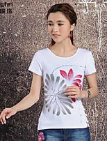 Women's Print White T-shirt , Round Neck Short Sleeve Button