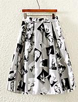 Aimei Women's Fashion  Print Sleeveless  Skirt (Cotton Blends)