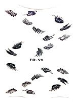 FD-59 Popular Wing Shape Nail Decal 1Set Japan Korea Style Black Color Angle Girls Lovely Nail Stickers Decoration