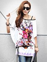Women's Print/Plus Sizes Stretchy Short Sleeve Long T-shirt (Cotton Blends)