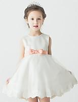 פרח שמלת ילדה - שמלת נשף - קצר / מיני - ללא שרוולים - סאטן/טול