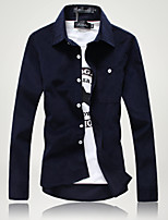 Male youth men's shirts long sleeved slim type of spring and Autumn - Korean fashion casual shirt pure white