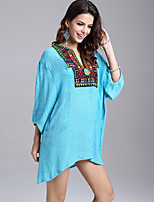 Women's Boho Blue/White Blouse , Deep U Long Sleeve Beaded/Embroidery