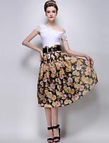 TS Women's Fashion Elegant Floral Print High Waist Casual Midi Bubble Skirts(Chiffon)