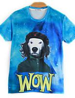 European Style TEE Digital Printing 3D T-shirt WOW Dog Harajuku Sleeved T-shirt