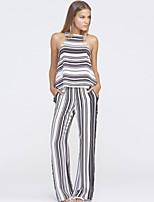 Women's Black White Stripes Casual Pant Set