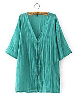 Women's Beach/Casual Stretchy Long Sleeve Long Blouse (Linen)