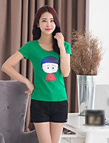 Women's Casual Print Plus Sizes Micro-elastic Short Sleeve Regular T-shirt (Cotton)