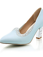 Women's Shoes Chunky Heel Comfort / Pointed Toe Heels Wedding / Outdoor / Dress / Casual Black / Blue / Pink / White