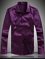 Men's Casual/Work/Formal/Plus Sizes High Quality Silk Pure Long Sleeve Regular Shirt (Microfiber)