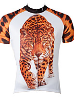 PaladinSport Men's Short Sleeve Cycling Jersey New Style Leopard Bike Wear Bicycle Apparel 100% Polyester