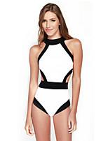 Women's Halter One-pieces , Color Block Push-up Modal White/Black