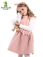 KAMIWA ® Girls Fall/Winter Pink Swan Chiffon Pleated Dresses Wool-like Princess Sleeveless Skirts  Kids Vests Clothing