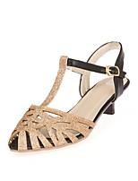 Women's Shoes Glitter Kitten Heel Peep Toe Sandals Dress Silver/Gold