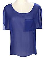 Women's Casual Inelastic Short Sleeve Regular Blouse (Chiffon)
