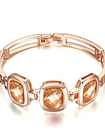 T&C Women's Classical Design Jewelry 18K Rose Gold Plated Triple Champagne Crystal Rectangle Link Bracelets For Party
