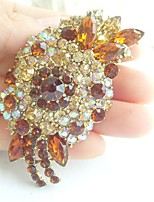 Women Accessories Gold-tone Topaz Rhinestone Crystal Flower Brooch Art Deco Brooch Bouquet Women Jewelry
