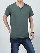 Men's Casual/Plus Sizes Pure Short Sleeve Regular T-Shirt (Cotton)