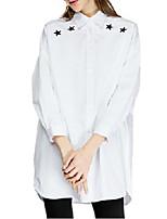 Damen Hemd  -  Stickerei Baumwolle/Polyester ¾-Arm Hemdkragen