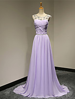 Formal Evening Dress - Lilac Plus Sizes / Petite A-line Scoop Sweep/Brush Train Chiffon