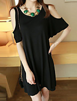 Women's Solid Black T-shirt , Round Neck ½ Length Sleeve