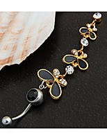 316L Steel Crystal Butterflies Dangle Navel Belly Button Ring Bar 3