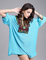 Women's Casual Inelastic ¾ Sleeve Long Blouse (Cotton Blends)