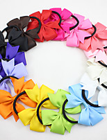 New Ribbon Hair Bow with Band for Girl and Woman Hair Accessories Elastic Bow Hair Tie Rope Hair Band 15pcs/ lot