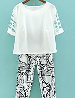 Women's Vintage Casual Print Plus Sizes Micro-elastic ½ Length Sleeve Short T-shirt (Cotton Blends)