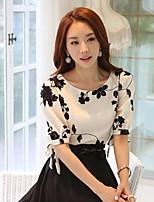 Women's Casual Print Plus Sizes Inelastic ½ Length Sleeve Regular Blouse (Chiffon)