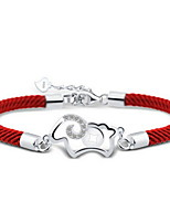 Women's Hollow Out Red Line Silver Sheep With Bracelet