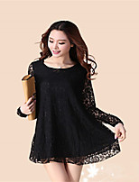 Women's Black Blouse , Round Neck Long Sleeve Lace