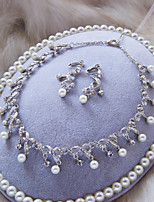 Fashion Silver Color With White Rhinestone And Pearl Wedding Necklace And Ear Clip Sets D0517AJ