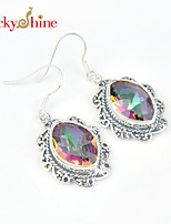 Unique Antique Fire Colored Mystic Topaz Gem Bezel Setting Earring Drop Earrings For Wedding Party Daily 1pair