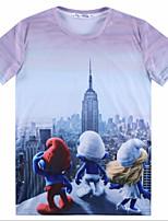 European Style TEE Digital Printing 3D T-shirt Wrinkled The City Smurfs Harajuku Sleeved T-shirt
