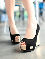 Women's Shoes Wedge Heel Wedges/Heels/Peep Toe/Open Toe Sandals Dress Black/Brown/Red