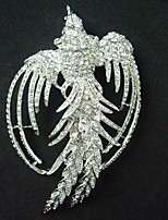 Women Accessories Silver-tone Clear Rhinestone Crystal Phoenix Brooch Art Deco Crystal Brooch