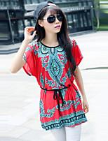 De las mujeres Camiseta Escote Redondo - Mezclas de Algodón - Manga Corta