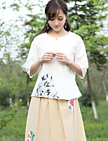 Women's Patchwork White Shirt , Round Neck ½ Length Sleeve Embroidery