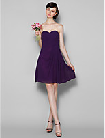 Knee-length Georgette Bridesmaid Dress - Grape Plus Sizes / Petite A-line Sweetheart