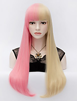 The European and American Wind Powder Double Golden Color Hair End Adduction Face Long Straight Hair Wig
