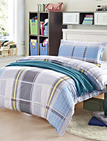 H&C 100% Cotton 600TC Duvet Cover Set  3-Piece  Blue,Yellow,Grey And White Checker Pattern  XB1-006
