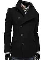 Men's Casual/Work/Formal Pure Long Sleeve Regular Trench coat (Cashmere/Lycra/Microfiber/Polyester)