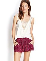 Women's Casual V Neck Sleeveless Short T-shirt (Cotton/Spandex)