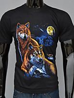 3D-sleeved t-shirt Moonlight Wolf pattern