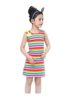 Summer Kids Girl's Bow Rainbow Plaid Casual Beach Dresses (Cotton Blends)