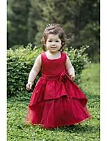 Цветочница платье - Трапеция Длина ниже колен Без рукавов Атлас