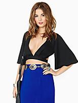 Women's Sexy Micro Elastic ½ Length Sleeve Short Blouse (Chiffon)