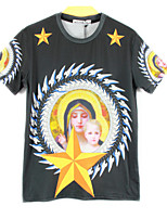 European Style TEE Digital Printing 3D T-shirt Five-star Mary Harajuku Sleeved T-shirt